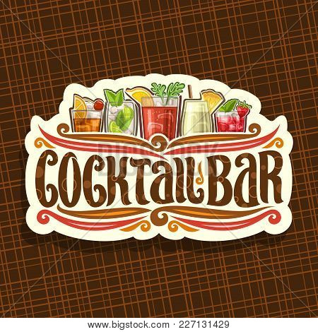 Vector Logo For Cocktail Bar, Vintage Cut Paper Sign With 5 Colorful Refreshing Mocktails And Origin