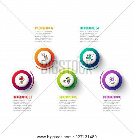 Business Data Visualization. Process Chart. Abstract Elements Of Graph, Diagram With 5 Steps, Option