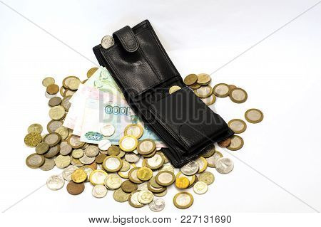 purse coins money on white background, money in your wallet