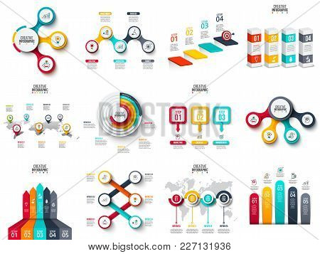 Vector Infographics, Diagram, Chart, Graph And Presentation. Business Report With 3, 4, 5, 6 And 7 O