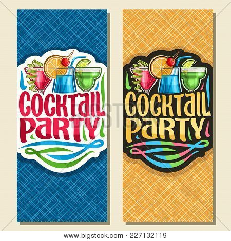Vector Vertical Banners For Cocktail Party, Layout Invitation With 3 Colorful Refreshing Mocktails,