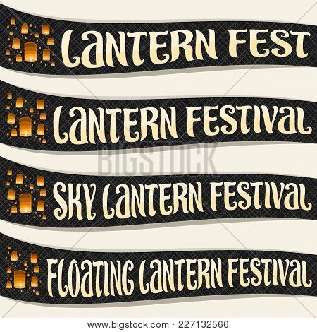 Vector Set Of Ribbons For Sky Lantern Festival, Many Flying Paper Balloons With Burning Candles In E
