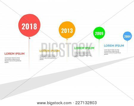 Simple Coloured Balloon Timeline Infographics For Presentations, Vector Illustrations, Easy Edit