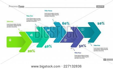 Percentage Process Chart With Five Arrows. Diagram, Flow Chart, Slide Template. Can Be Used For Topi