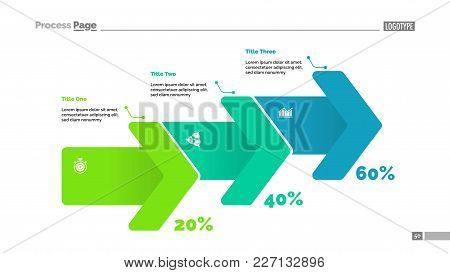 Percentage Process Chart With Three Arrows. Infochart, Graph, Diagram. Planning Concept. Can Be Used