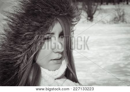 Sad Girl In The Park In The Frosty Morning