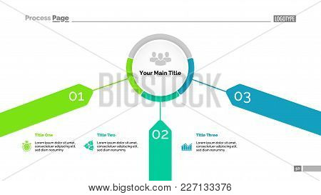 Radial Chart With Three Descriptions. Graph, Diagram, Slide Template. Business Concept. Can Be Used