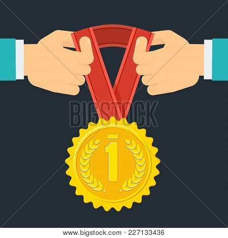 Achievement Concept. Awarding With Gold Medal. Signs And Symbols Of Success, Victory In Competition.