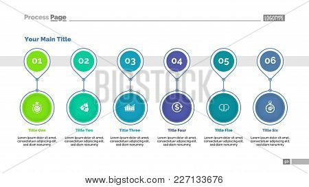 Timeline Chart Template With Six Positions. Flow Chart, Strategy, Project. Business Data Concept. Ca