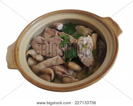 Pork Chitterlings Boiled With Pickles Served In Clay Pot
