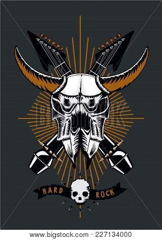 Heavy Metal Tattoo. Rock Music Poster With Bull Skull, Microphone And Guitar. Grunge Style. Vector I