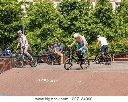 St. Petersburg, Russia - 15 June, Teenagers On Sports Bicycles, 15 June, 2017. Teenagers On Bicycles
