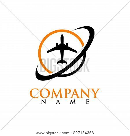 Air Travel Company Map Pointer Logo Template. Airport And Travel Agency Location On Map Logo Concept