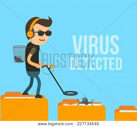 Virus Scanning And Detection In Computer System. Antivirus Hunter Found The Infection In Folder Vect