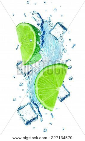Lime Splash Water And Ice Cube Isolated