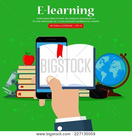 Vector Online Education Concept. Hand Holding Mobile Phone With Open Book