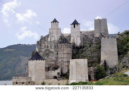 Golubac Fortress (golubacka Trvdjava Or Goluback Grad) Taken During A Sunny Afternoon. The Golubac C