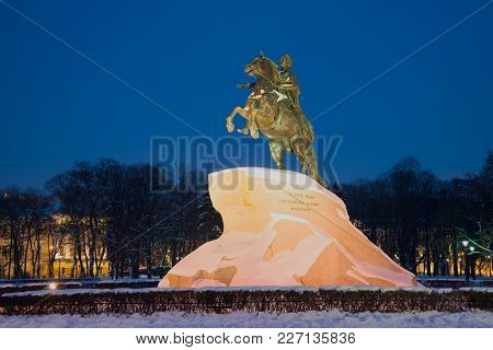 Saint Petersburg, Russia - February 08, 2018: View Of A Monument To Peter I (bronze Horseman) In The