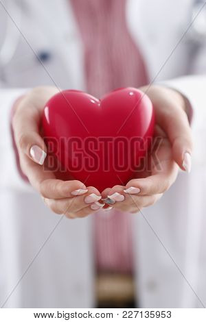 Female Doctor Hold In Arms And Cover Red Toy Heart Closeup. Cardio Therapeutist Student Education Cp