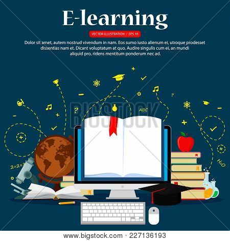 Concepts Of Education And E-learning. Concepts For Web Banners.vector Illustration, Flat Design