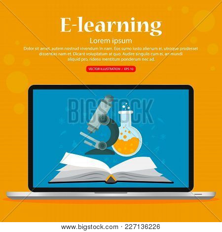 E-learning, Distance Studying And Education. Vector Illustration, Flat Design