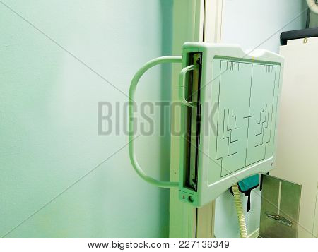 X-ray Room In A Hospital Er Operating Room With A Classic X-ray System. Modern Medical Equipment, In