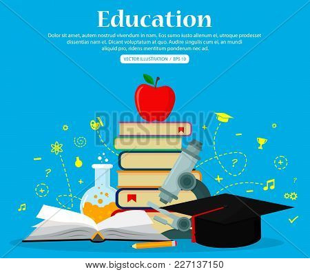 Education Set Icons. Concepts For Web Banners And Printed Materials. Vector Illustration, Flat Moder