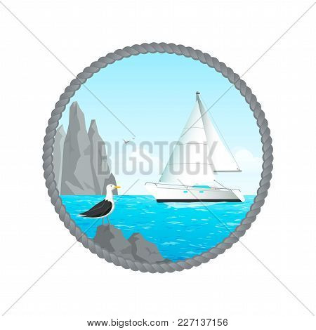 Sailing Yacht Sails By The Rocky Shore, Gull On The Rocks, Stylized Under The Rope Round Frame