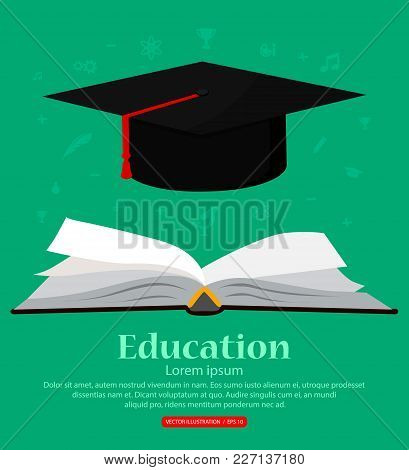 Education. Background With Open Book School Knowledge And Academic Hat. Vector Illustration.