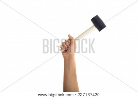 Hand Holding A Rubber Mer On White Background