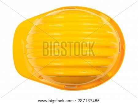 Health And Safety. Construction Hard Hat Isolated On White Background. Top View