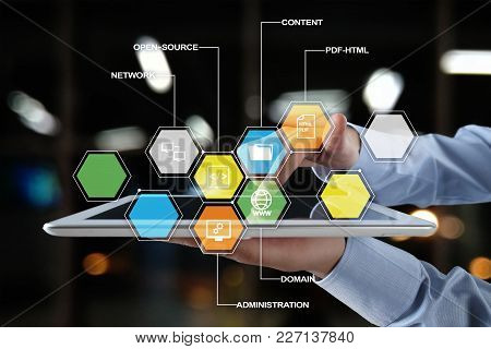 Cms. Content Management System Applications Icons On Virtual Screen. Business, Internet And Technolo