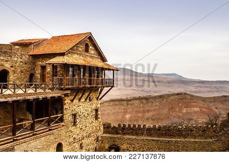 Old Fortress Walls With Merlons, David Goreja Monastery Ortodox Complex, Kakheti, Georgia