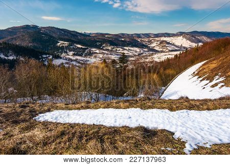Winter Landscape Of Uzhansky National Park. Beautiful Scenery In Mountains On In Fine Weather Warm D