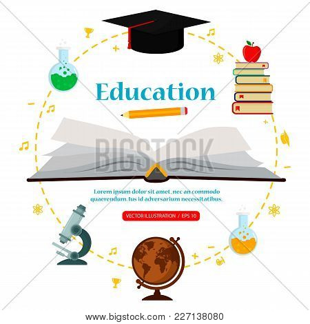 Subjects Education On White Background Around Open Book, Concept Of Education. Vector Illustration