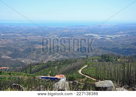 Elevated View Across The Monchique Mountains And Countryside Towards The Coastline, Monchique, Algar