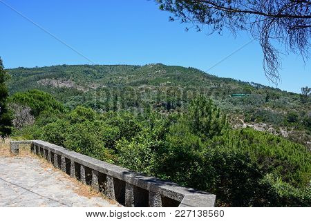Elevated View Of The Mountains And Countryside In The Monchique Mountains With A Vantage Point In Th