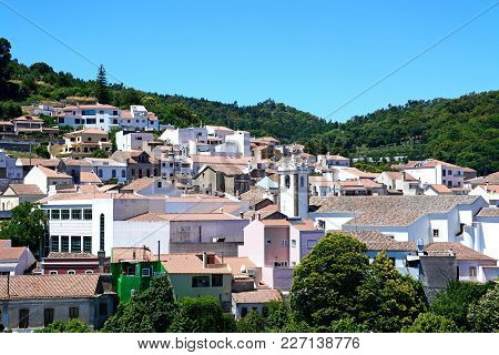 Elevated View Of The Village With The Church To The Centre, Monchique, Algarve, Portugal, Europe.