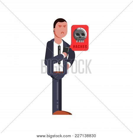 Man Personal Information On Mobile Phone Hacked. Vector Illustration, Eps 10