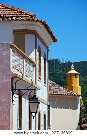 Pretty Portuguese Townhouse And Chimney In The Old Town, Monchique, Algarve, Portugal, Europe.