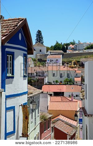 Monchique, Portugal - June 7, 2017 - Elevated View Of Town Buildings And Rooftops In The Old Town, M