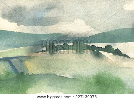 Ladscape With Hills. Original Watercolor Painting On Paper. Hand Drawing Illustration.