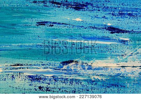 Macro Painted Blue and Green Canvas Textured background