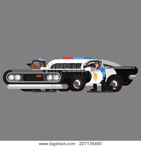 Police Officers Embattled Near Car. Vector Illustration, Eps 10