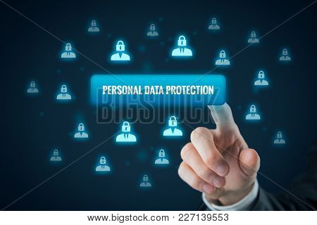 Personal Data Protection Concept. Businessman Click On Button To Activate Sensitive Personal Data Pr