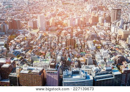 Residence Downtown Tokyo Cityscape Crowded Area, Japan