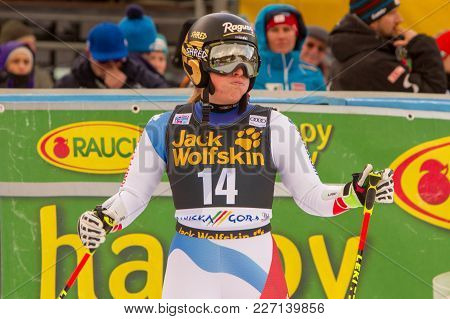 Lara Gut Disappionted At Fis Ski World Cup Giant Slalom In Kranjska Gora On The 6th Of January 2018