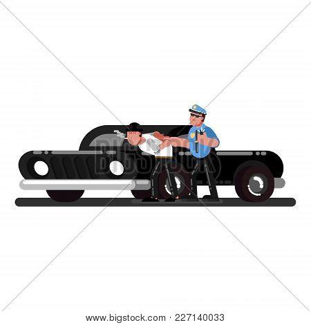 Police Officers Apprehend Criminals Near Black Pick Up Truck. Vector Illustration, Eps 10