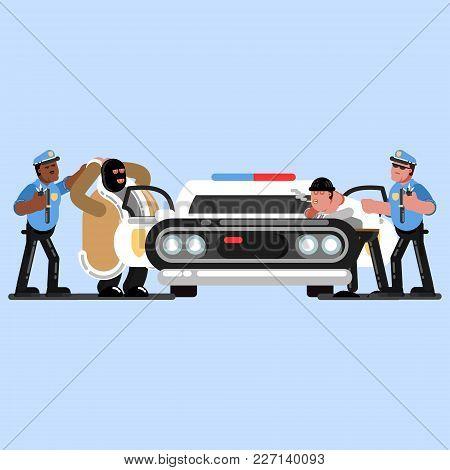 Police Officers Apprehend Criminals Near Car That Stands Front. Vector Illustration, Eps 10