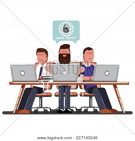 Team Of Man Work On Protecting Of Personal Data. Vector Illustration, Eps 10